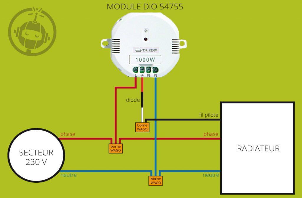 Schéma de montage pour radiateur avec fil pilote (module DiO 54755)