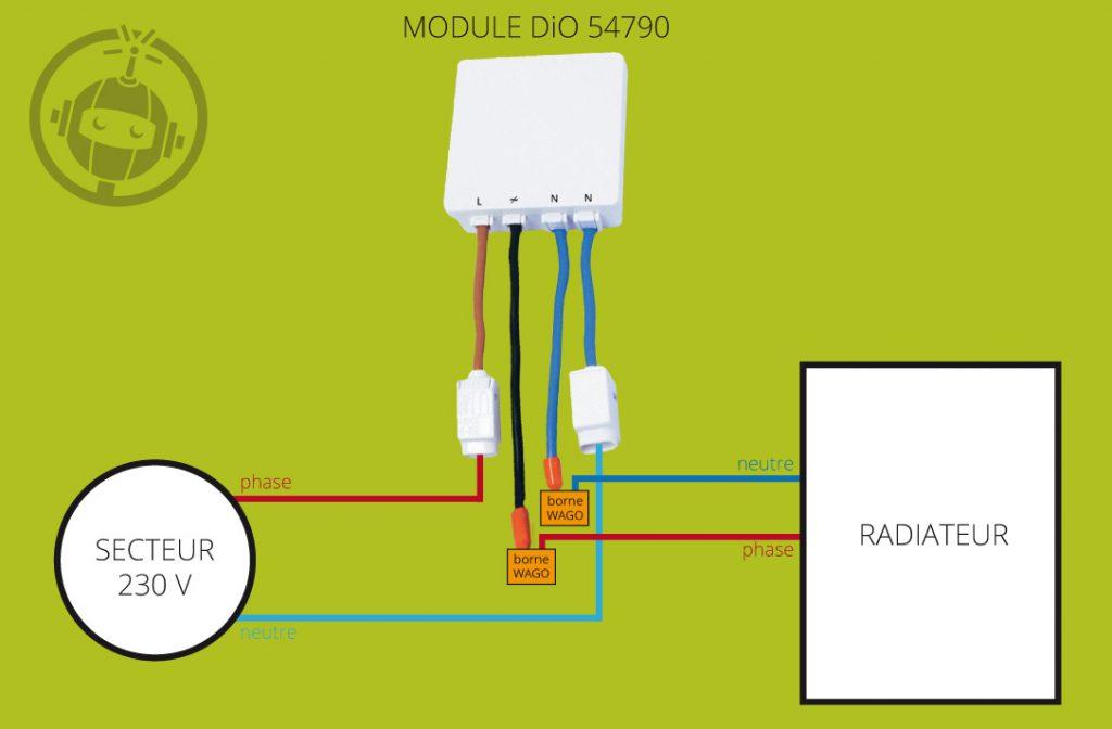 Schéma de montage pour radiateur sans fil pilote (module DiO 54790)