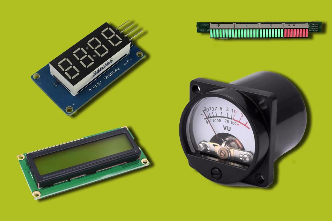 LCD, 7 segments et VU-mètre