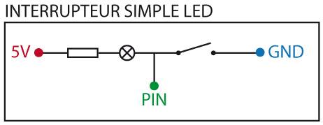 Schéma électronique avec bouton à led